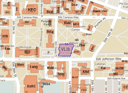 Valley Library on the campus map