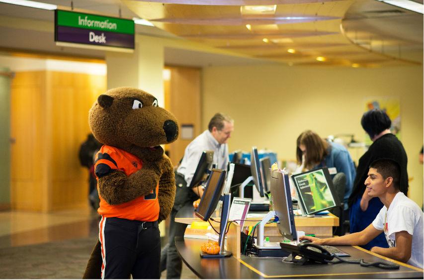 OSU mascot at info desk