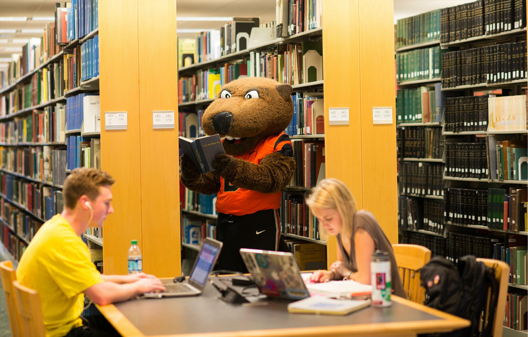OSU mascot in library