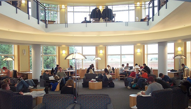 Students studying in the Library rotunda.