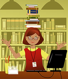 A librarian balancing books on her head.