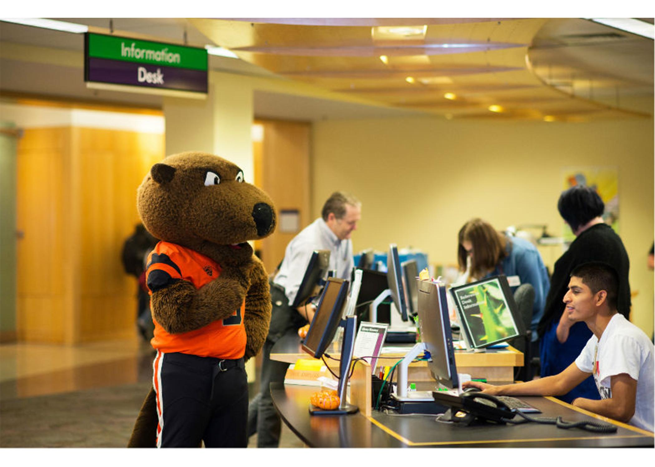 OSU mascot at checkout table