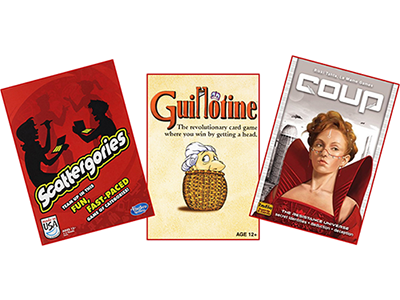 Three games including Scattergories, Guillotine, and Coup.