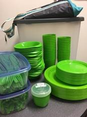 The sustainable party-pac, with bowls, utensils, and cups.