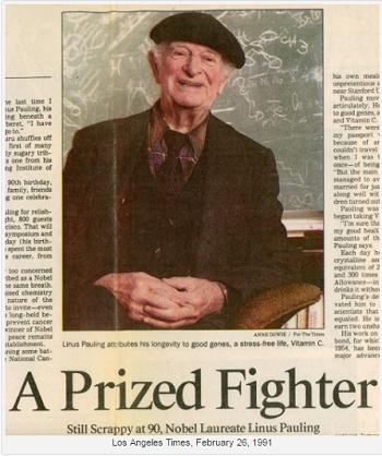 Linus Pauling on his 90th birthday