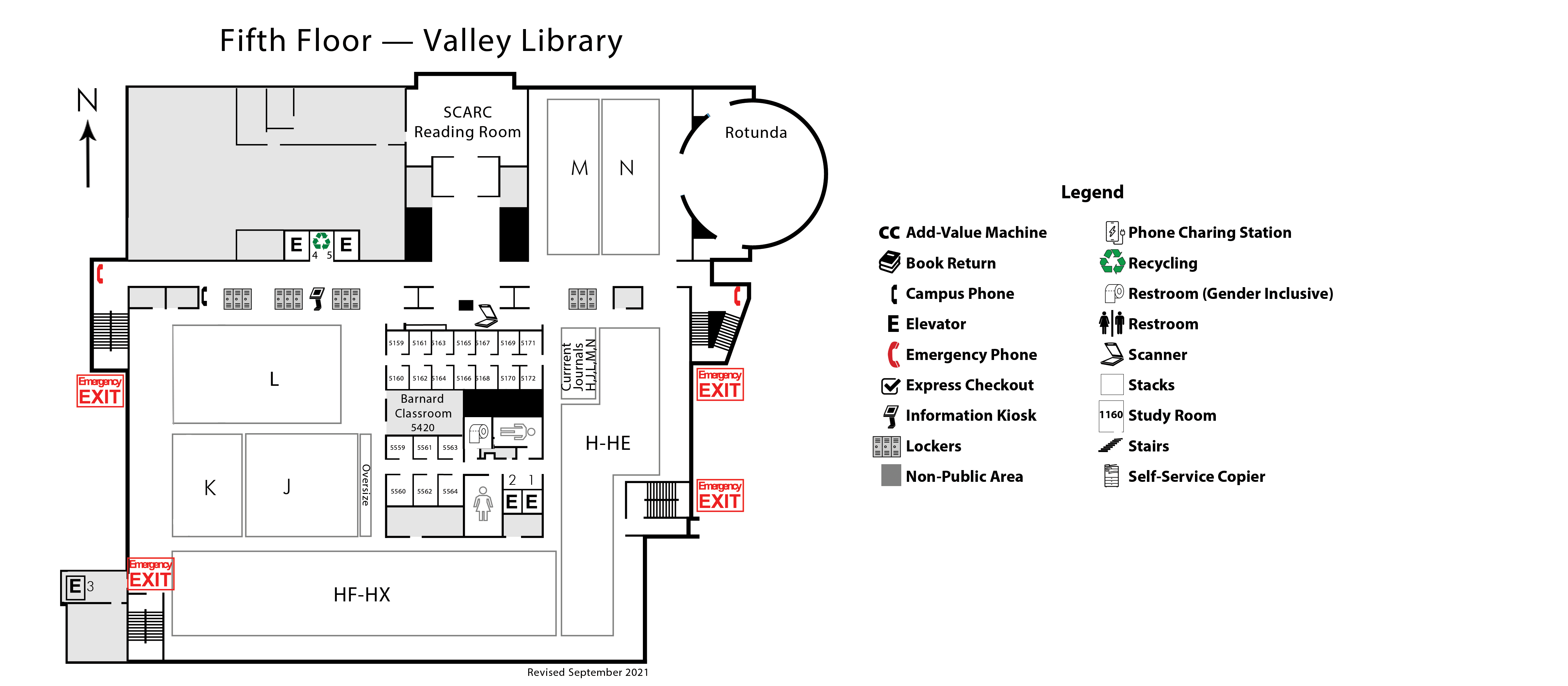 Fifth Floor Valley Library Map